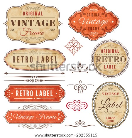 A set of high detail grunge vintage labels and decorative elements