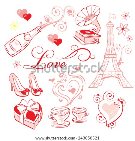 A set of high-quality vector clip-art on the theme of Valentine's Day. - stock vector