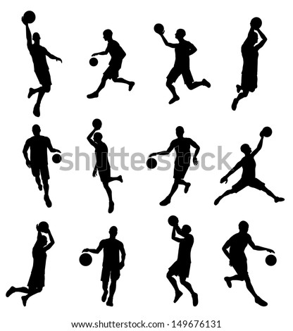 A set of highly detailed high quality Basketball player silhouettes - stock vector