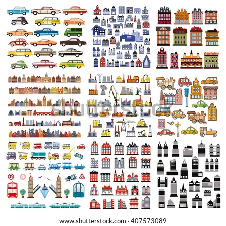 A set of houses and buildings. Objects for design and creativity.  - stock vector
