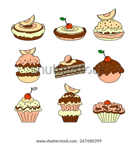 A set of icons of different types of cakes on white background.