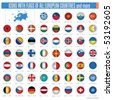 a set of icons with flags of all european countries isolated on withe, vector illustration - stock vector
