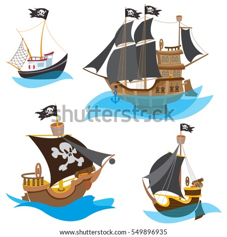 A set of illustrations depicting various types of ships. Pirate Frigate and sailboats with black sails.
