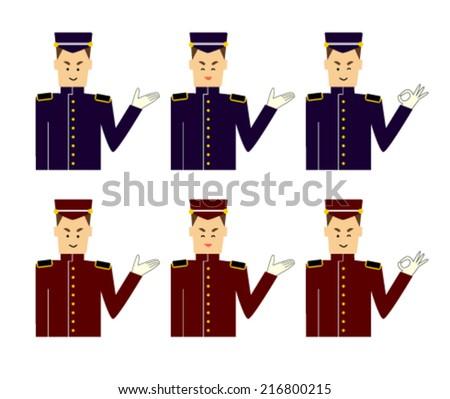 A set of images of a door man, bellboy or servant vector illustration  - stock vector