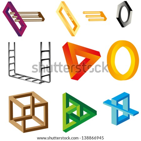 A set of impossible figures, unreal objects. Different colored optical illusions of unreal geometrical objects. - stock vector