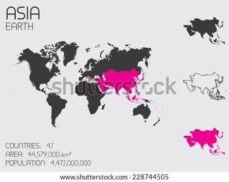 A Set of Infographic Elements for the Continent of Asia - stock vector