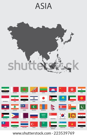 A Set of Infographic Elements for the Country of Asia - stock vector