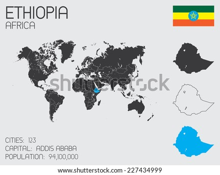 A Set of Infographic Elements for the Country of Ethiopia - stock vector
