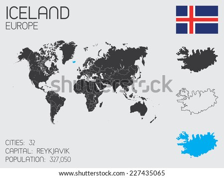 A Set of Infographic Elements for the Country of Iceland - stock vector