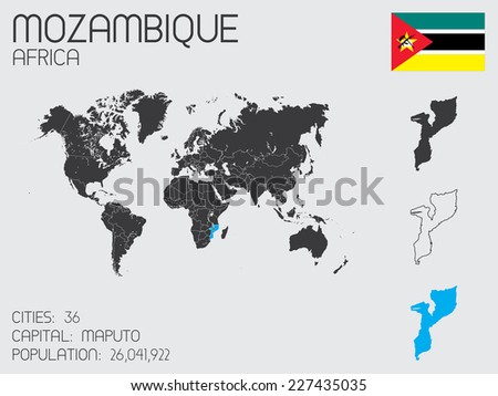A Set of Infographic Elements for the Country of Mozambique - stock vector