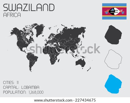 A Set of Infographic Elements for the Country of Swaziland - stock vector