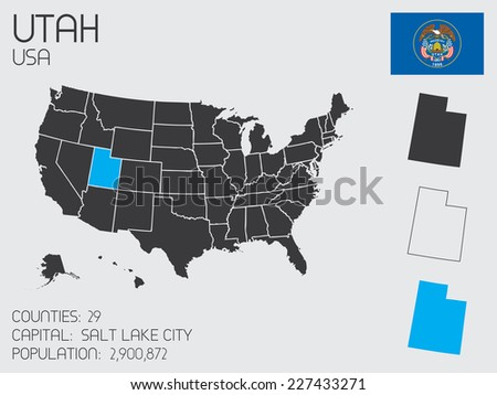 A Set of Infographic Elements for the State of Utah - stock vector