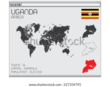 A Set of Infographic Elements in a Web Browser for the Country of Uganda - stock vector