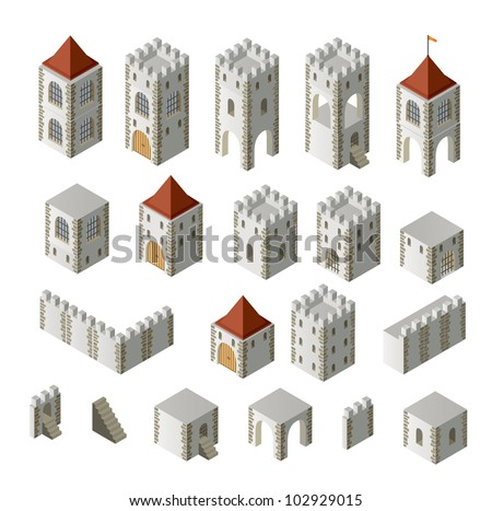 A set of isometric medieval buildings on a white background - stock vector