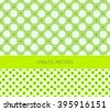 a set of 2 japanese style, coordinated, geometrical and dots, seamless patterns, in a fresh green color palette - stock vector