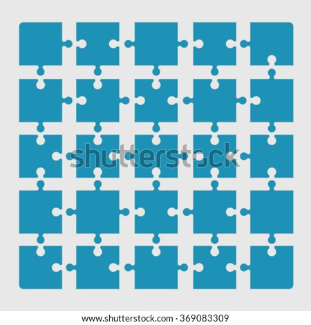 A set of jigsaw puzzle pieces connected - stock vector