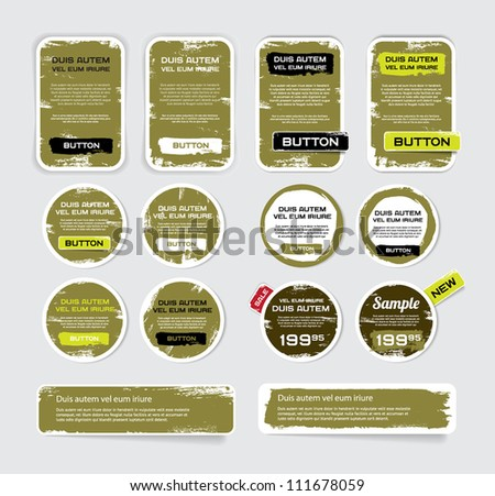 A set of khaki vector grungy paper stickers, labels, tags and banners with hand painted / cracked paint worn out backgrounds - stock vector