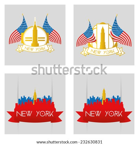 a set of labels and backgrounds with famous places in new york - stock vector
