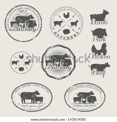 A set of labels for butchery. Icons of beef, pork, lamb and chicken  - stock vector