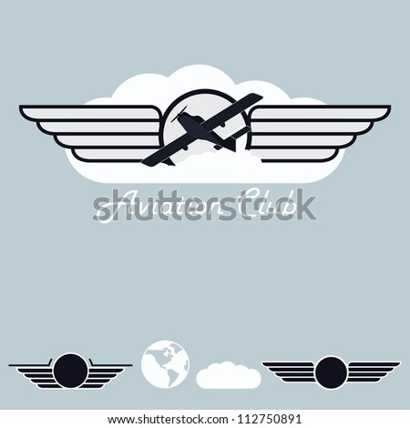 A set of labels for small aviation - stock vector