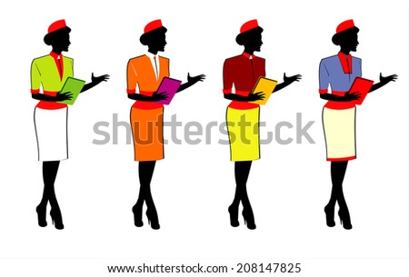 a set of Ladies holding a note or a tablet pc in various uniform. Elegant Waitress. Stewardess. - stock vector