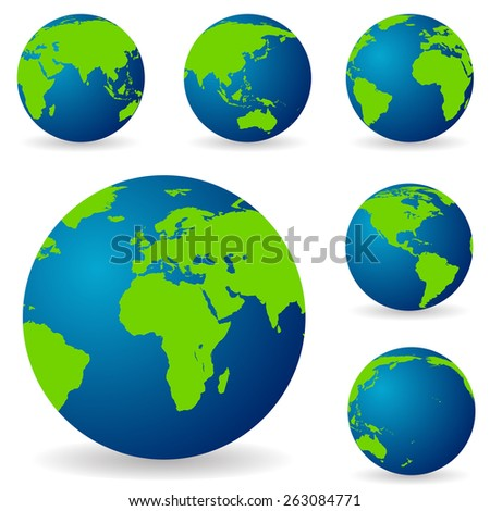 A set of land in different variations, from different sides of the world map vector - stock vector