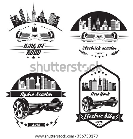A set of logos for the modern and fashionable self-balancing electric scooters, electric bikes, scooters hydro. - stock vector