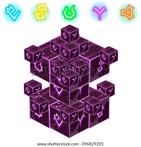 A set of magic cubes. Vector illustration. - stock vector