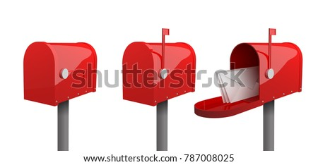 closed mailbox. A Set Of Mailboxes With Closed Door, Raised Flag, An Open Mailbox