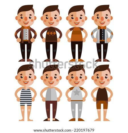 A set of male characters in different clothes. Stylish boys hipsters. flat design. - stock vector