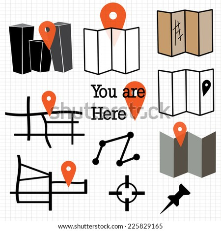 A set of map and navigation icons - stock vector