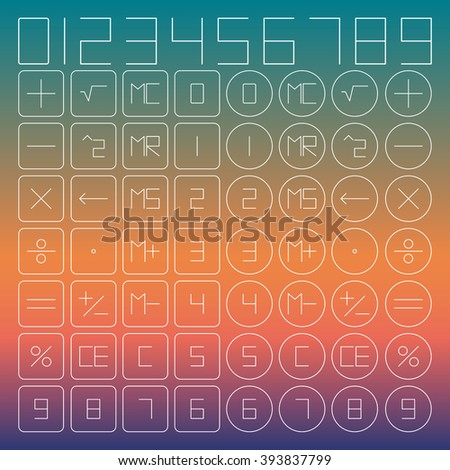 A set of mathematical symbols for the calculator of thin lines, vector illustration. - stock vector