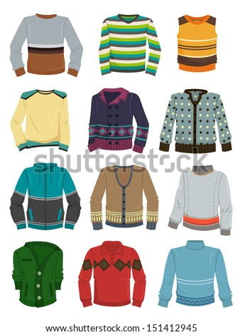 A set of men's sweaters for autumn and winter - stock vector