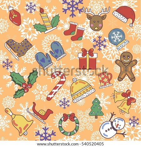 a set of merry christmas new year and winter icons on the orange background