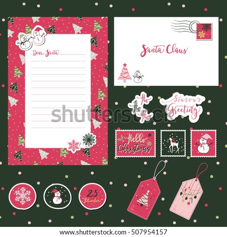 Set merry christmas santa cute letter stock vector 507954157 a set of merry christmas santa cute letter envelope templates and stickers with text spiritdancerdesigns Gallery