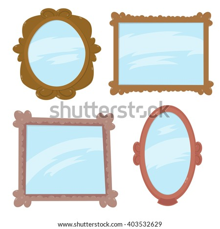 a set of mirrors in wooden frames. beautiful antique mirrors. funny cartoon mirrors in different forms and different framework. vector illustration. - stock vector