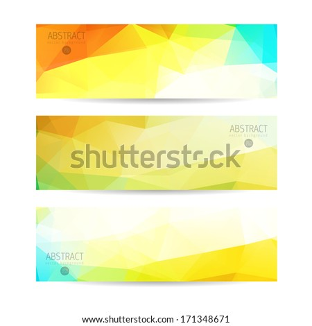 A set of modern vector banners with triangles  - stock vector