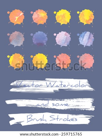 A set of multicolored blots/blobs with vector watercolor grunge texture plus some brush strokes - stock vector