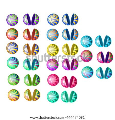 A set of multicolored plastic boxes spherical shape for the dispenser. Vector illustration. - stock vector