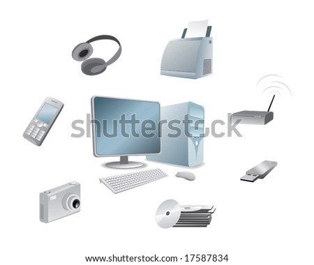 a set of multimedia device - stock vector