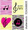 A set of music note icons and hand drawn heart. Music lessons logo.Colorful music note background.Vector Illustration