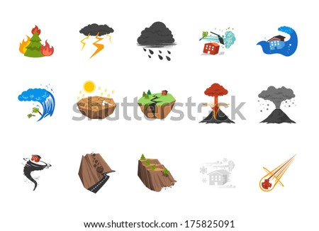 A set of natural disaster icons in fresh colors. - stock vector