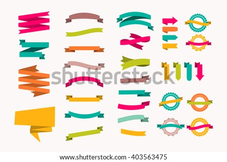 a set of new and original of ribbons of paper, template for your ad - stock vector