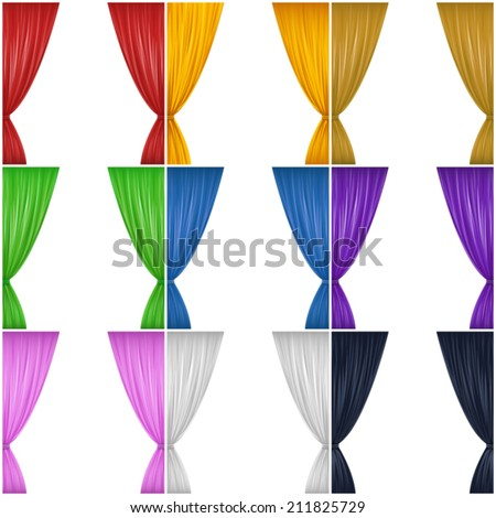 A set of nine different colored drapes (red, yellow, brown, green, blue, purple, pink, black and white). Eps 10 Vector.