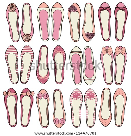A set of nine different models of ballerina shoes. - stock vector