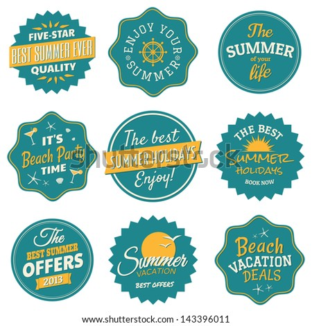 A set of nine labels for the summer season in blue and yellow. - stock vector