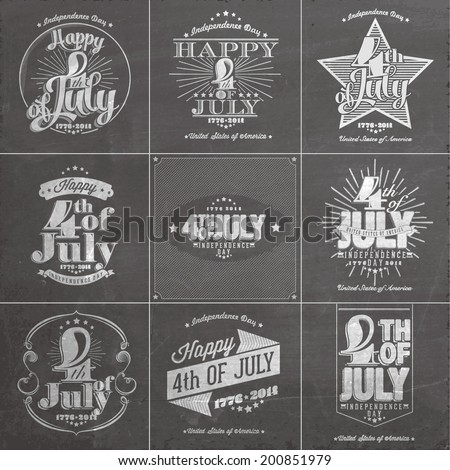 A set of nine vintage greeting cards on chalkboard with the wording : Happy 4th of July 1776-2014, Independence Day - stock vector