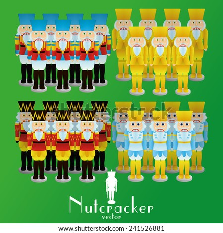 a set of nutcracker soldiers with different uniforms on a green background - stock vector