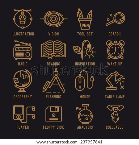 A set of office icons. School, Education, compass, book, pen tool, vision, view, search, chemistry, science, inspiration, planning, floppy disk,table lamp, player, radio, alarm clock. - stock vector