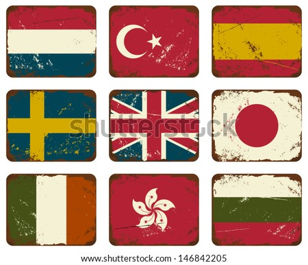 A set of old rusty tin signs with flags. - stock vector